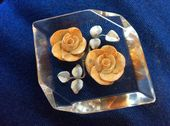 1940s Lucite Brooch - Yellow Roses Brooch